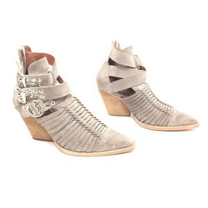 Jeffrey Campbell Gray Suede Cowboy Ankle Booties
